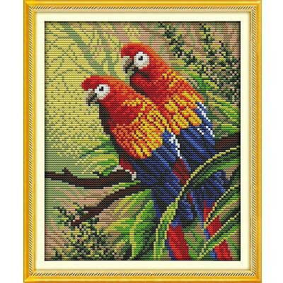 Two parrots Counted Cross Stitch Kit  Hand Embroidery needlework