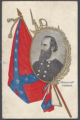 Patriotic Post Card Confederacy General Stonewall Jackson & Felix Zollicoffer