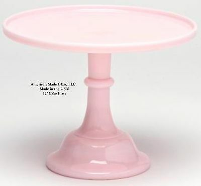 "Crown Tuscan Pink Glass Plain & Simple 12"" Cake Plate Stand Pastry Tray Mosser"