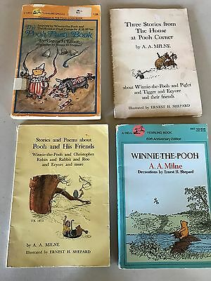 Lot of 4 WINNIE THE POOH vintage paperback BOOKS  A.A. MILNE