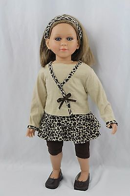 My Twinn Doll Brown Hair Blue Eyes Freckles with Clothes 2008 Leopard Outfit
