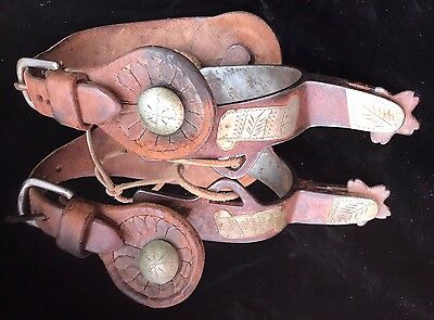 Nice Old Heavy Duty Crockett Engraved Silver Mounted Iron Bronc Spurs & Straps