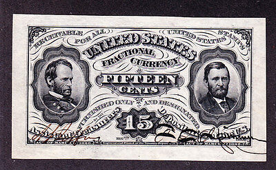 US 15c Fractional Currency spwmf FR 1274 Jefferies-Spinner Autographs Ch CU