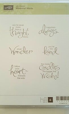 Stampin' Up *WHIMISCAL WORDS* 6 pc Clear Mount Rubber Stamp Set. NEW.