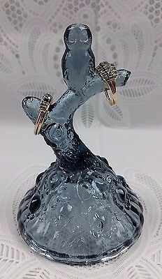 Fenton Blue Owl Bird On Branch Bedside Glass Cabbage Rose Ring Holder Home Decor