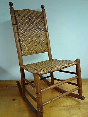 Antique  Caned Golden Oak Rocker In Beautiful Condition