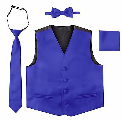 Boys Toddler Formal 4 Pieces Vest Set, Vest Tie Bow Tie Pocket Square Set Satin
