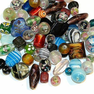G3725 Assorted Color, Size & Shape 8-35mm Lampworked Glass Bead Mix 4oz
