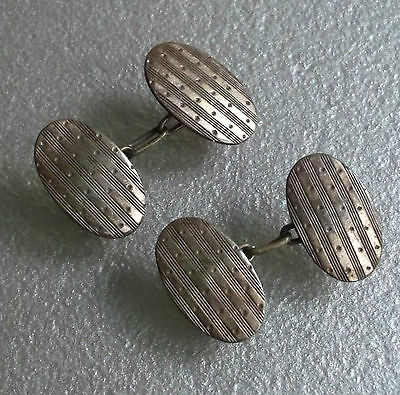 ART DECO VINTAGE CUFFLINKS AGED METAL TRADITIONAL 1930s 1940s 1950s OVAL DESIGN