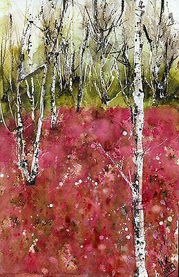 "○°Original Aquarell,Watercolor,Frühling Wald,Landschaft,Wood, Birches""°○"
