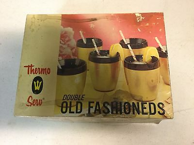 Vintage 60s Thermo-Serv Insulated Set 6 Gold Black Cups.
