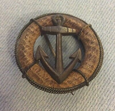 Original Ww1 Trench Art Anchor Pin Badge Sweetheart Brooch