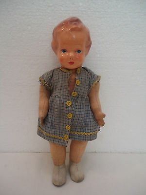 Antique Vintage Girl Doll Toy - Cloth Body Celluloid Head
