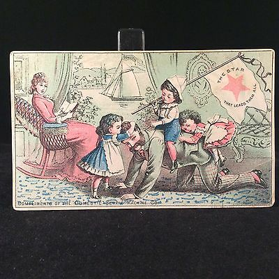 Domestic Sewing Machine Company Trade Card 1880s York Springs PA Dad Playing