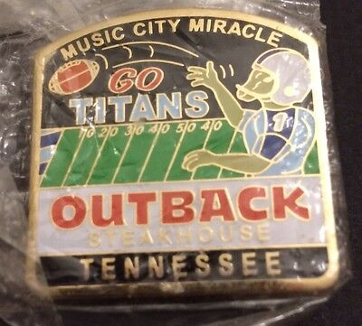 Go Titans Outback Steakhouse Music City Miracle Tennessee Hat Lapel Pin New