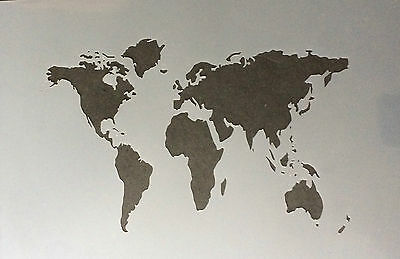 World Map A4 Mylar Reusable Stencil Airbrush Painting Art Craft