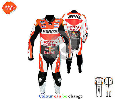 Orange men motorbike leather suit repsol racing bull style leather suit any size