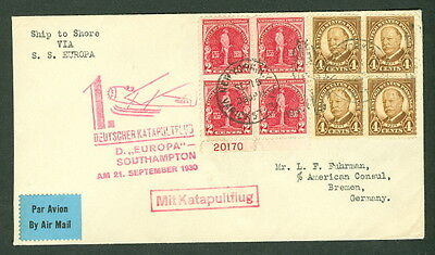 UNITED STATES, 1930, Catapult Flight to Germany w/better franking, pretty and VF