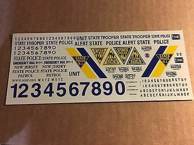 New Jersey State Police 1:24 Scale Waterslide Decal 1/4 Sheet
