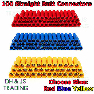 100 Electrical Straight Butt Connectors Terminal Crimp Cable Red Blue Yellow