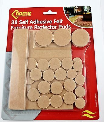 38 x Self Adhesive Felt Furniture Protector Pads Floor Table Chair Protection