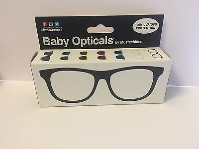 Baby Opticals by Mustachifier Clear Lens 100% UVA and UVB Orotection Black