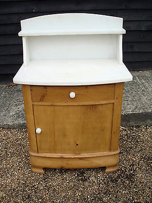 ELEGANT LATE 19th CENTURY PINE WASHSTAND CABINET CUPBOARD WHITE MARBLE TOP