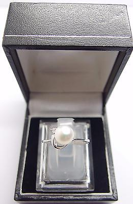 925 Sterling Silver ring Freshwater Cultured Pearl Ring Size N UK 6.5 US #D2