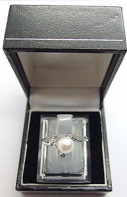 925 Sterling Silver ring Freshwater Cultured Pearl Ring Size O 1/2 UK 7.5 US #N2