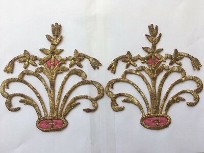 A PAIR OF ANTIQUE OTTOMAN TURKISH GOLD METALLIC HAND EMBROIDERY F APPLIQUE No1