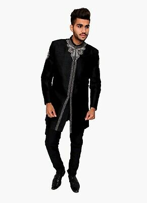 Black Raw Silk Sherwani Silver Embroidery Indian Pakistani Bollywood Mens Suit