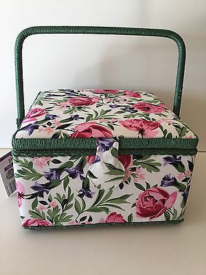 Sewing Basket Large 26cm Square X 16cm Floral Pink Purple Green White Fabric New
