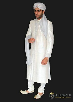 White Raw Silk Sherwani Silver Embroidery Indian Pakistani Bollywood Mens Suit