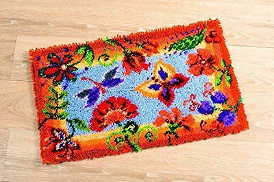 Vervaco Flowers and Butterflies Latch Hook Rug, Multi-Colour