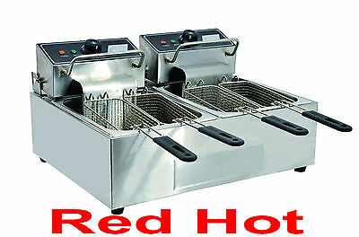 Omcan 34868 CE-CN-0012 Commercial Counter Top Double Electric 12 Lb Fryer