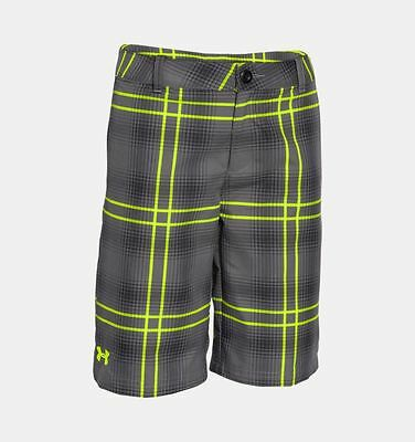 UNDER ARMOUR UA Utility Club Plaid Golf Flat Front Shorts 1254054 Size Y LARGE