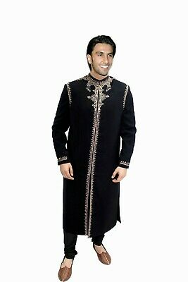 Exquisite Navy Sherwani in Gold Embroidery Indian Pakistani Bollywood Mens Suit