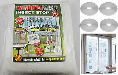 4 x Large White Window Insect Screen Mesh Net Mosquito Fly Bug Netting UK