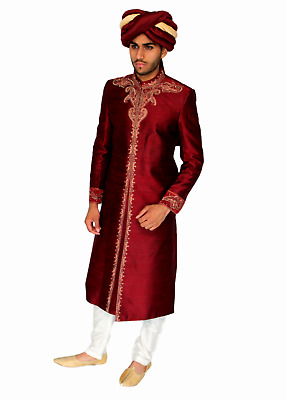 Red Raw Silk Sherwani in Gold Embroidery Indian Pakistani Bollywood Mens Suit UK