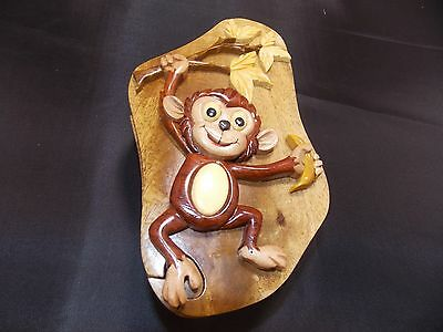 """World Design Cute Monkey Hand Crafted Carved Wood Puzzle Jewelry Trinket Box 6"""""""
