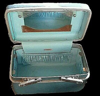 Vtg Samsonite Train Case Blue Royal Traveller Medalist Mid Century Luggage Prop