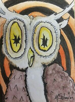 Aceo 2.5 x 3.5 Original Watercolor and Ink Painting Portrait of Owl Orange Art