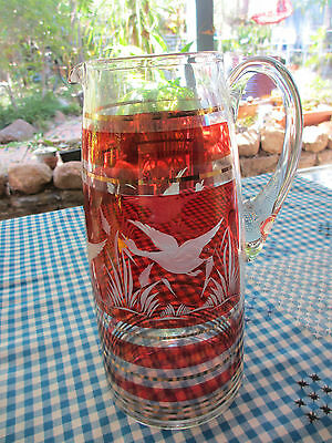 Vintage Retro Etched crystal glass red  with gold bands drinks  jugl,Stunning!!
