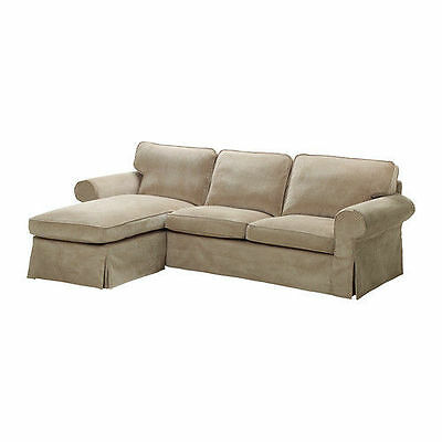 IKEA EKTORP Cover for loveseat with chaise, Vellinge Beige (Sectional 3 Seat)