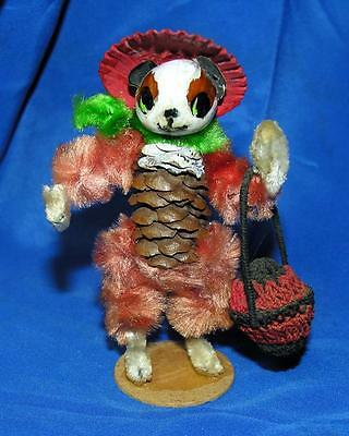 Vtg 1950's Pinecone Folk Art Figure, Dog Girl Xmas Putz, Miniature, Dolls  House