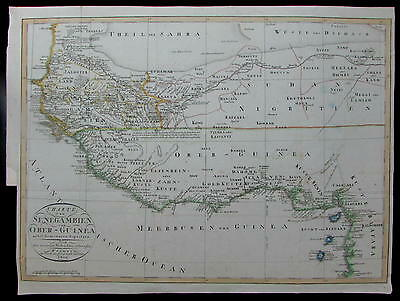 Senegal Gambia Ghana Guinea Gold Cost West Africa 1809 rare German antique map