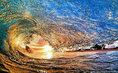 Wave Ocean stunning with sun High definition poster Choose your Size