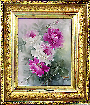 Gorgeous Large Hand Painted Roses Porcelain Plaque Signed