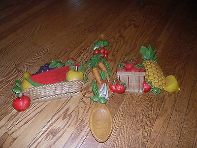 3Pc Vintage Homco Fruit Vegetable Wall Plaques Spoon 1975 1976