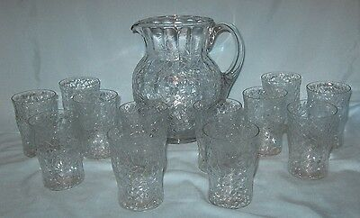 Vintage Crackle Pitcher with 12 Tumblers 8 Ounce